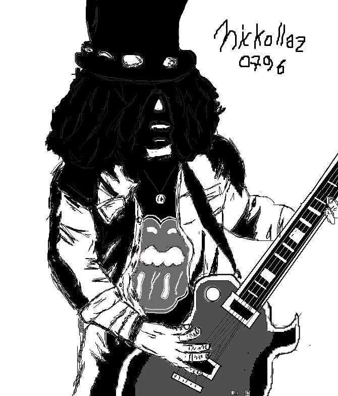 Mi dibujo en Paint de Slash (Guitarrista de Guns and Roses)