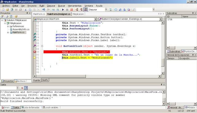 programando en sharpdevelop